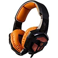 SADES SA-806 Orange LED Light Surround Sound Stereo PC Gaming Headset With Microphone Noise-cancelling Wired Headphone...