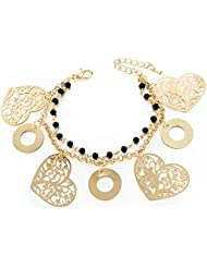 Wearyourfashion 18k Gold Plated Rhinestone Crystal Romantic Heart Multilayer Bracelet For Women And Girls