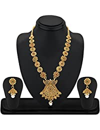REEVA COPPER LONG HARAM NECKLACE SET WITH PEARL DROP
