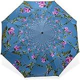 BAIHUISHOP 3 Folding Parasol Sun Protection Anti-UV Sun And Rain Umbrellas Flower Pattern Windproof Tested Compact...
