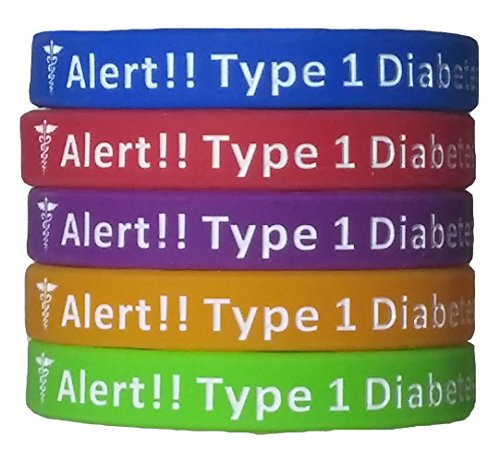 Theme Park Food and Safety - Type 1 Diabetes Bracelets Silicone Medical Alert Wristbands (Pack of 5) Adult & Kids Sizes
