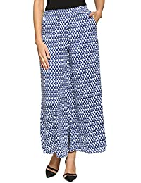 Abof Ethnic Blue & White Printed Regular Fit Palazzo Pants