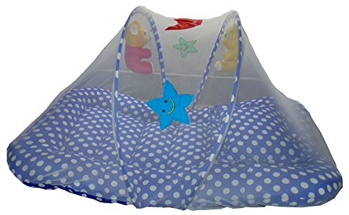 Cheesy Cheeks Baby Mattress With Mosquito Net Large With Soft Toys (Colours AND Print May Vary)