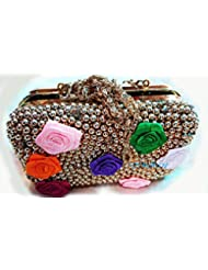 The Indian Handicraft Store Colourful Fabric Roses On Golden Beads