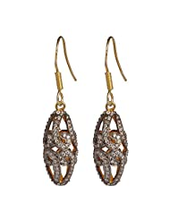 925 Sterling Silver Gold Plated Beads Hoops Dangle Earrings Jewelry
