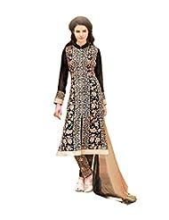Black Semi Stitched Georgette Straight Cut Salwar Suit - B010DXYKZ4
