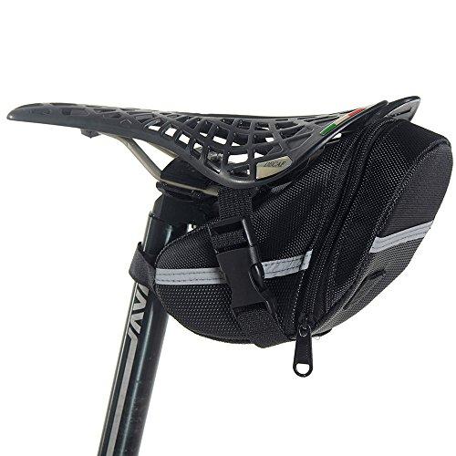 Newdora Bike Saddle Bag Bike Under Seat Bag Bicycle Saddle Bag Cycling Bicycle Seat Bag Pack Strap-on Bag Bicycle Tools Bag Capacious Rainproof Easy Installation Taillight Compatible – Black