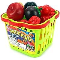 Fruit & Veggies Shopping Basket Toy Food Playset W/ Assorted Toy Fruit & Vegetables