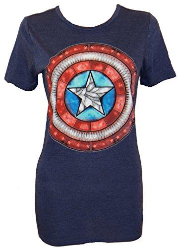 Marvel Civil War Stained Glass Boyfriend Juniors T-shirt (Extra Large,Navy)