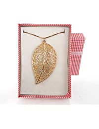 TiedRibbons Leaf Gold Plated Pendant With Long Chain For Girl Women
