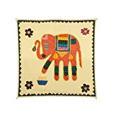 Rajrang Home Décor Patch Work Elephant Embroidered Black, Light Olive Green, Red Wall Hanging