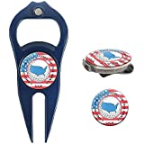 Hat Trick Openers 6-in-1 Golf Divot Tool Hat Clip Set With USA Logo Navy