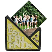 """Tile Shaped BEST FRIENDS Theme Stone Photo Frame - 5.5"""" X 5"""" - Customize With Your Own Photos & Messages"""