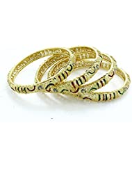 BDF Gold Plated Bangle Set Of 4 Pieces. An Artist And Meena Work Bangles. Size 2.6