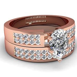 Fascinating Diamonds 1 Ct Pear Shaped FLAWLESS Diamond Bridal Rings Pave Set 14K GIA