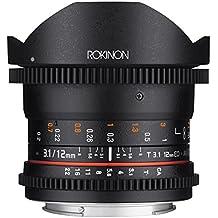 Rokinon Cine DS 12mm T3.1 Ultra Wide Cine Fisheye Lens For Canon EOS EFDSLR Cameras - Full Frame Compatible