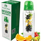 Infuser Water Bottle 31 Ounce - Made With BPA Free TRITAN - Young & More EasyFlip - Free Recipe Ebook DOWNLOAD...