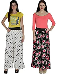 Shoping Fever - Designer And Stylish Womens Plazzo - Combo Pack (Floral And Polka Dots) -White And Black