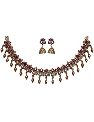 Gehna Ruby Color Stone Studded Antique Gold Plating Necklace & Earrings Set