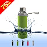 Borosilicate Glass Water Bottle By Balichun Travel Cup With Stainless Steel Leak-Proof Lids BPA-Free Portable12oz...