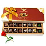 Valentine Chocholik's Belgium Chocolates - Delight Chocolates And Truffles Treat With Red Rose