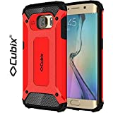 Cubix® Shock Proof Case For Samsung Galaxy S6 EDGE Tough Armor Tech Series Back Cover Case With Premium Carbon... - B06XGM3958