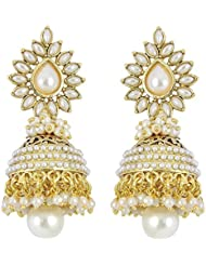 Zeneme Stylish And Trendy Gold Plated Pearl Jhumki Earrings