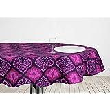ELAN Ikat Theme Based Damask Print Round Table Cloth With Size 150CM Dia (Purple)