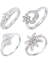 Mahi Rhodium Plated Combo Of Four Finger Rings With CZ For Women CO1104616R