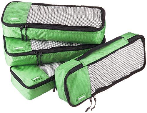 AmazonBasics Lot de 4sacoches de rangement pour bagage TailleSlim, Vert