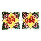 Royal Handicraft India Butterfly Shubh Labh ( Multicolor, 11.43 Cm X 11.43 Cm )