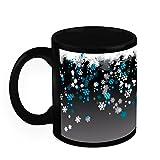 Christmas Gifts HomeSoGood Snowfall Fall This Christmas Black Ceramic Coffee Mug - 325 Ml