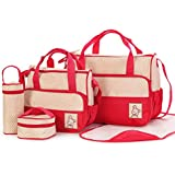 Moolecole 7 In 1 Mommy Tote Bag Travel Bag Diaper Bag Set (Red)