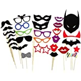 Foxnovo DIY Glasses Moustache Red Lips Bow Ties Masks On Sticks Cosplay Party - 30pcs