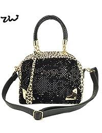 New Fashion Women Leopard Handbag High Quality Leather Handbags Sequins Designer Messenger Bags Shoulder Bag