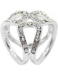 Imported Fashion 3-ring Rhinestone Scarf Ring Clip Slide Buckle Silver