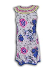 AsiaCraft White Floral Printed Viscose Kurti For Girls