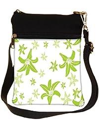 Snoogg Green Petals Cross Body Tote Bag / Shoulder Sling Carry Bag