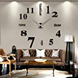 Chinatera Modern Mute DIY Large Wall Clock 3D Sticker Home Office Decor Gift (Black)