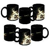 HomeSoGood How Fast Can You Run Black Ceramic Coffee Mug - 325 Ml (Set Of 6)