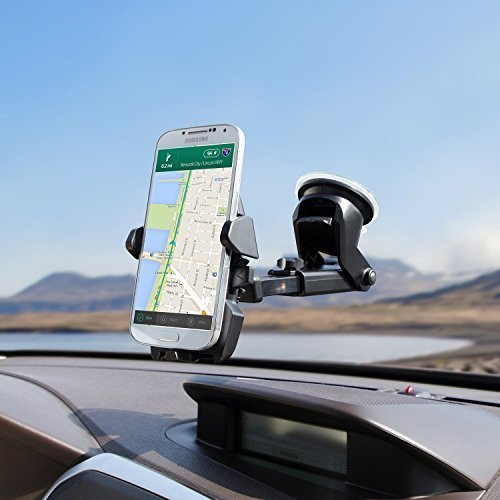 TopQPS BIG ARM Car Mount Holder for iPhone 6/6s/Plus/5s/5c Galaxy S6/S5/S7 Edge/Note 4/5