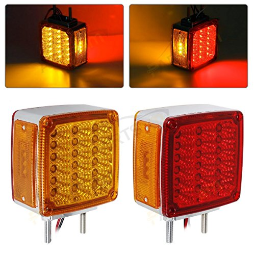 2xTruck Trailer Square Double Face stud Mount Pedestal Fender Stop Turn Tail Light Amber/Red 39 Diodes