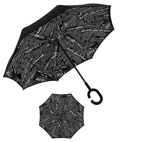 RAIN QUEEN Parapluie Canne Ouverture Inversé Double Toile Imprimé +C Poignée Grand Taille Dimension 105cm pour 2 personnes (Journal)