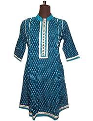 Ethnic Kurti Kurta Printed Orange Zari Embroidered Top L Large Dress
