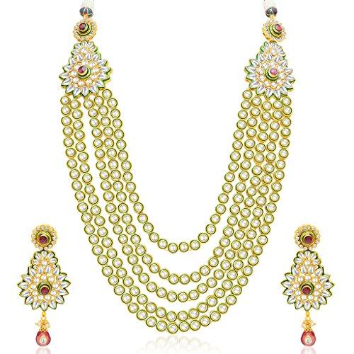 Sukkhi Sparkling Five Strings Gold Plated Kundan Necklace Set For Women