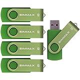 SIMMAX 5Pcs 8GB Usb Flash Drive Usb 2.0 Flash Drive Memory Stick Fold Storage Thumb Stick Pen Swivel Design(Green)