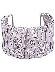 Princessories Metal Woven Cuff Bracelets - Silver