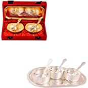 Silver & Gold Plated 2 Mini Square Bowl With Spoon And Tray And Silver Plated 3 Premium Bowl Set With Oval Tray