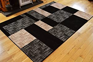 extra large living room rugs new modern retro black silver grey square design 20787