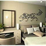 Animal Tribal Wolf Wall Stickers Baby Living Room Decorative Decal Vinyl Black Color